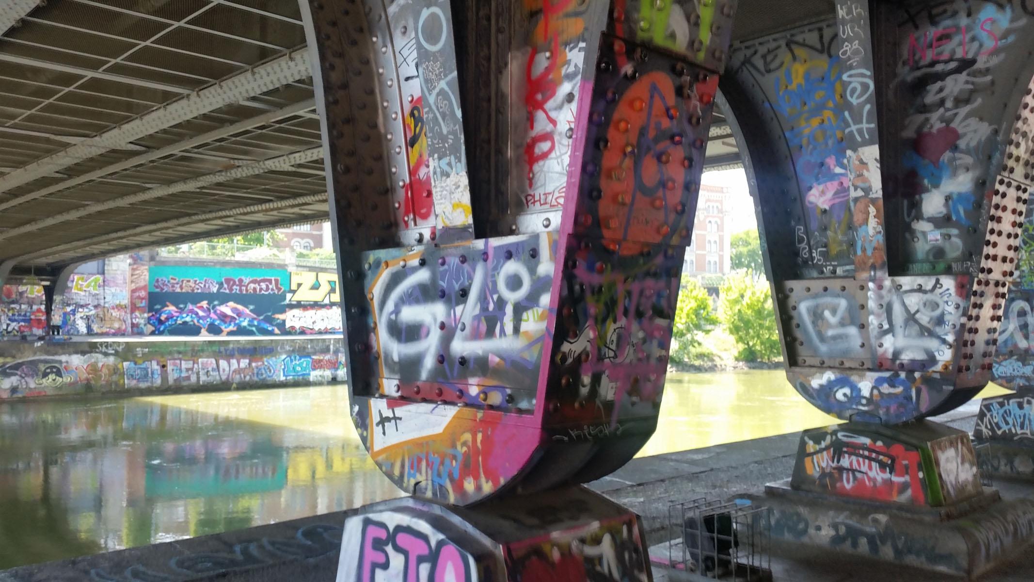 Arte urbana a Vienna, lungo il Dounakanal: tags