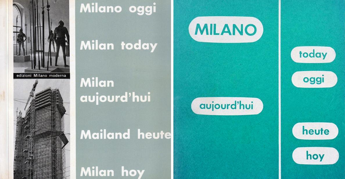 """A sx. """"Milano oggi"""" alla sua prima edizione, a dx. l'edizione del 1960"""