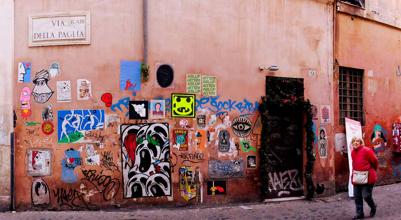 Poster Art a Roma. A Trastevere, tra i tanti: K2m-TzingTao-Pilzator-Merioone-C_ska-Eiknarf-Guaro-JesusTifaToro [foto Rita Restifo]