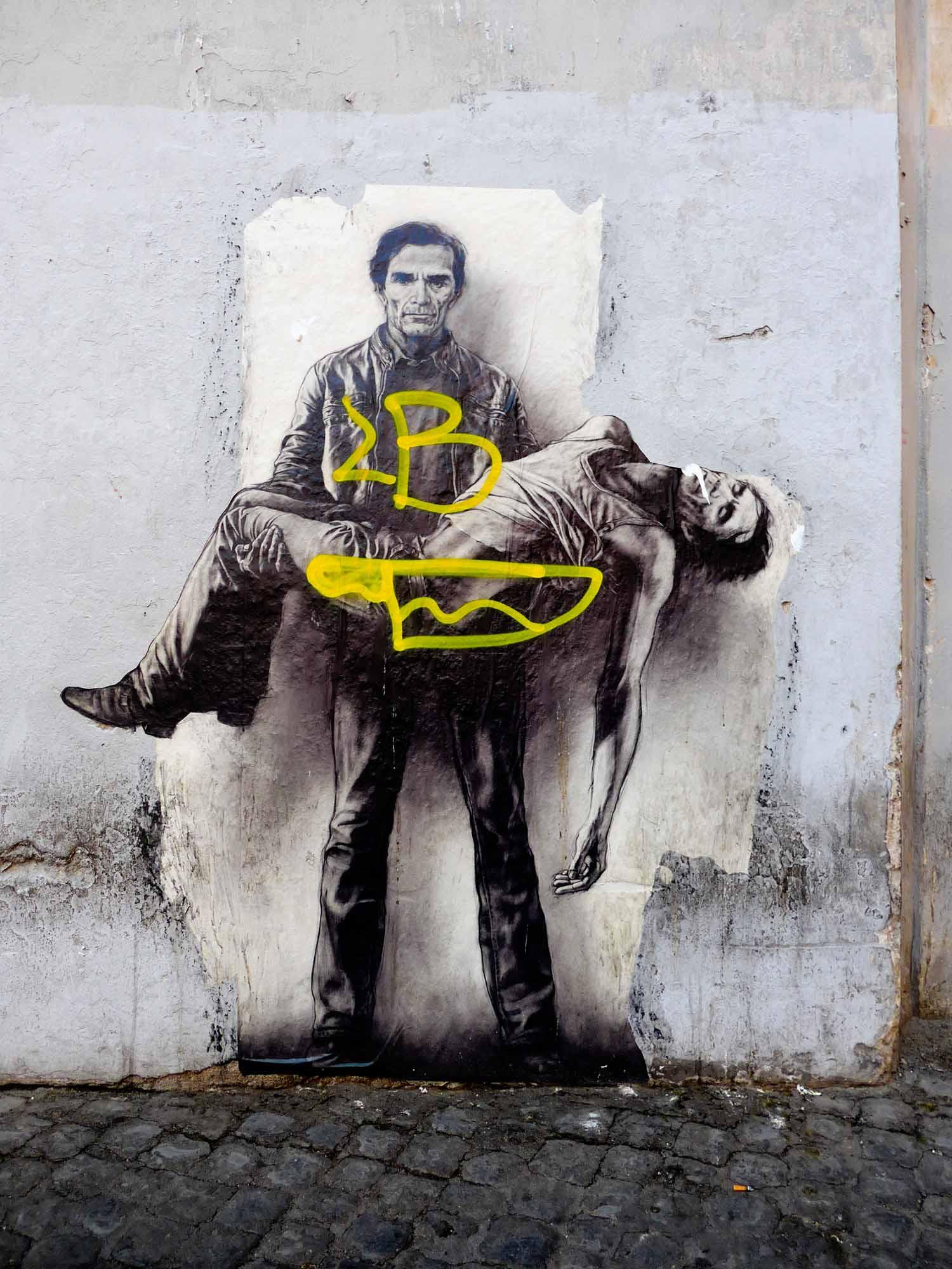 Poster Art a Roma: Pasolini di Ernest Pignon-Ernest a Trastevere [foto Rita Restifo]
