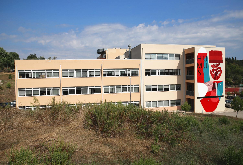 """""""HUMUS-Cerchio G37"""" sul muro del Liceo Artistico di Fermo"""